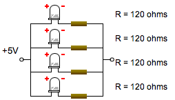 Parallel LED Circuit (with Resistors)