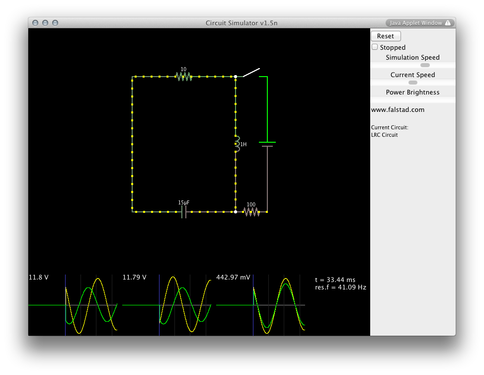 simulation java circuit simulator bald engineersimulator screen shot