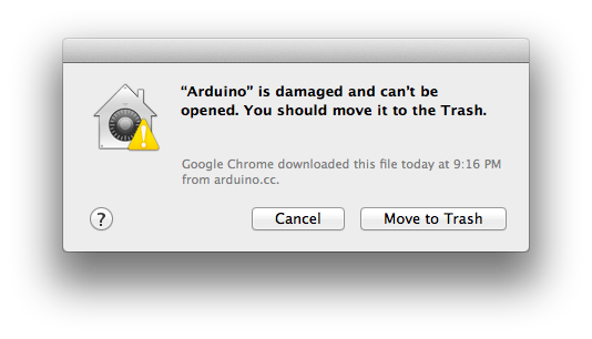 Arduino is damaged and can't be opened.  You should move it to the Trash dialog.