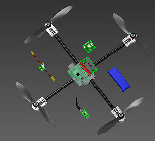 Custom quadrotor 3d modeled