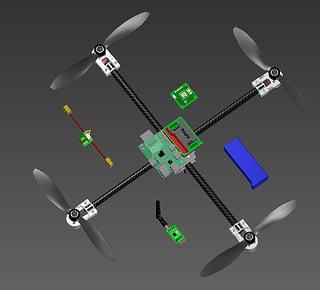 Custom quadrotor 3d modeled