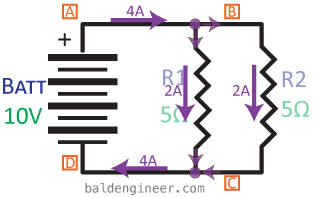 parallel circuit example current arrows