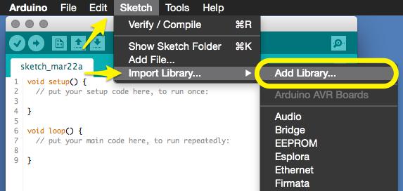 Arduino 1.6.1 IDE - Add Library...