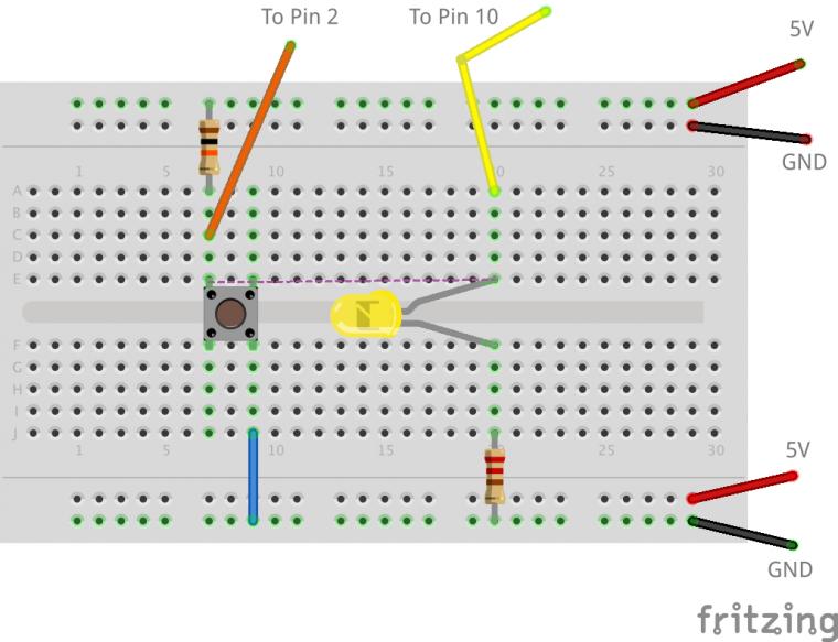 push button, led, millis, bread board