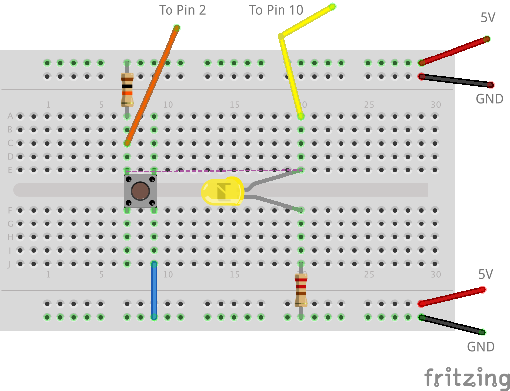 Pushbutton And Flashing Led With Mills Tutorial Parallel Circuit Breadboard The Read Board Is Broken Up