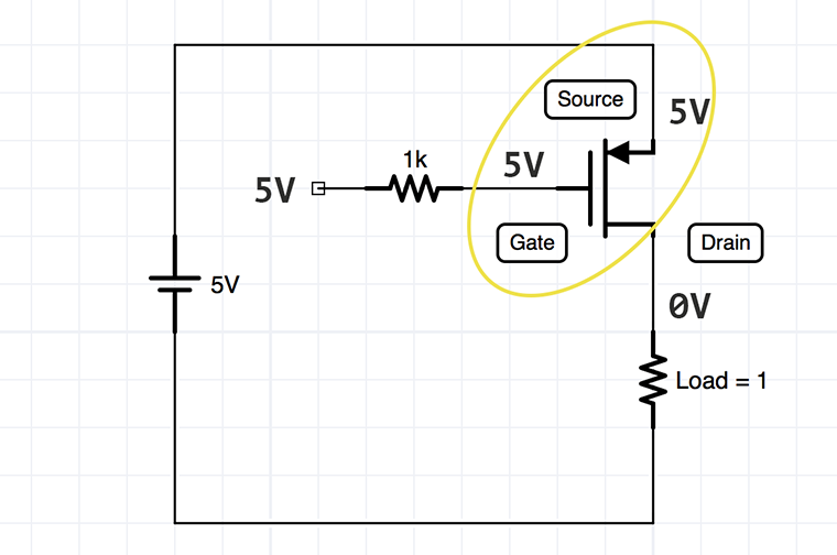 PChannel MOSFET with 5V Example