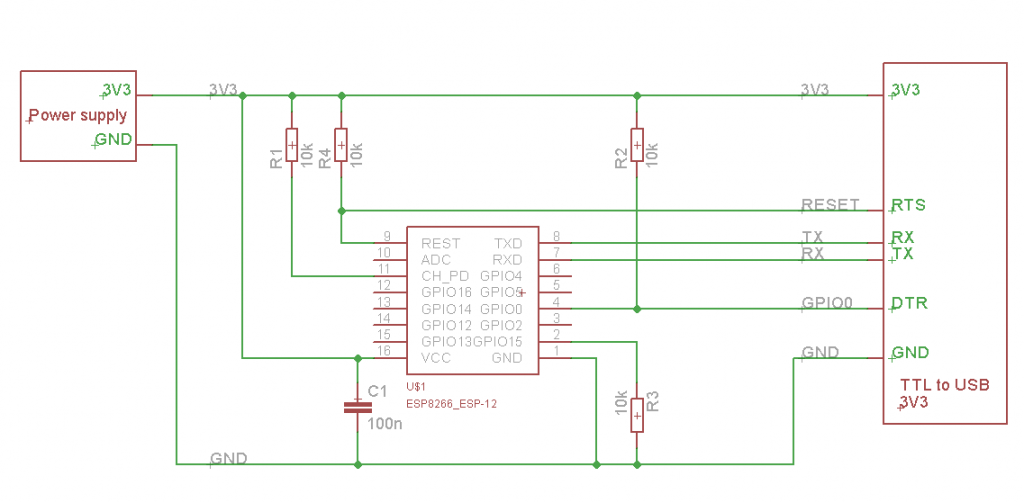 ESP8266 to Serial Schematic