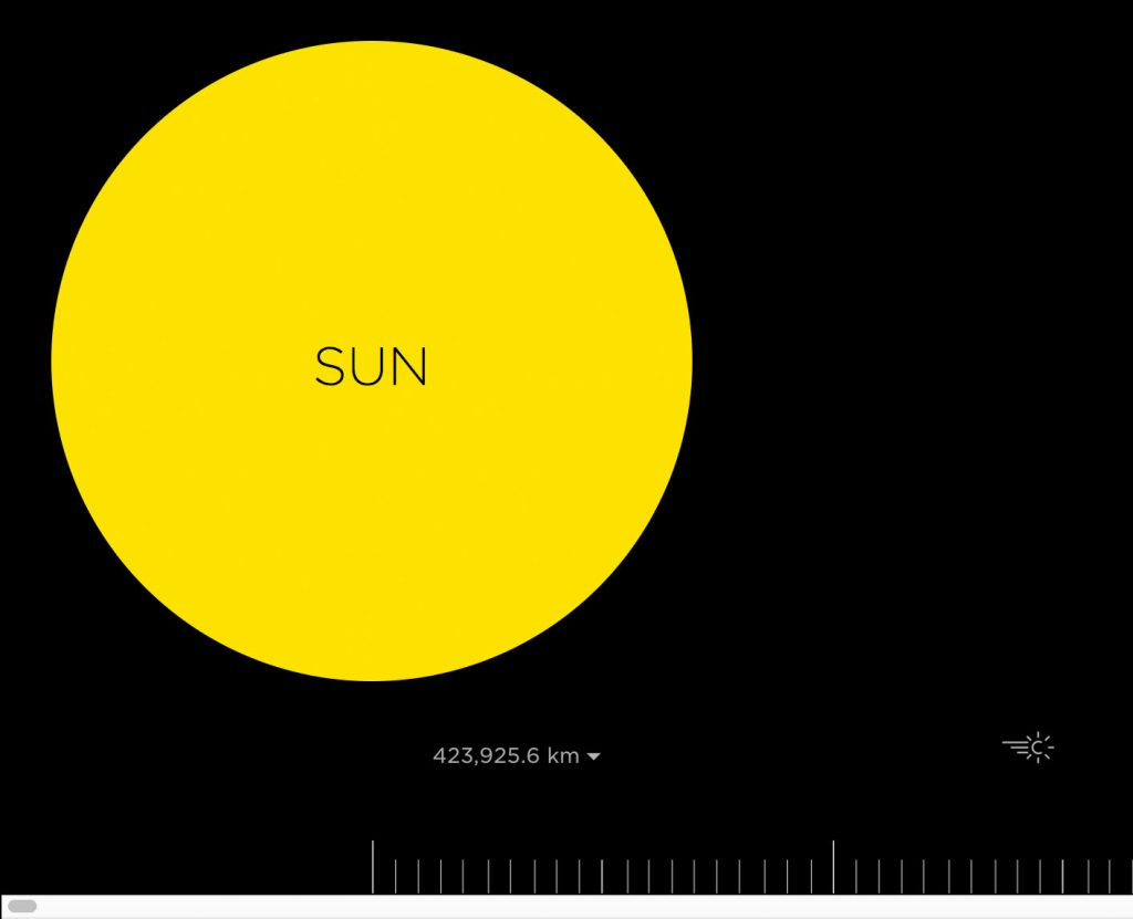 scrolling scale model of solar system