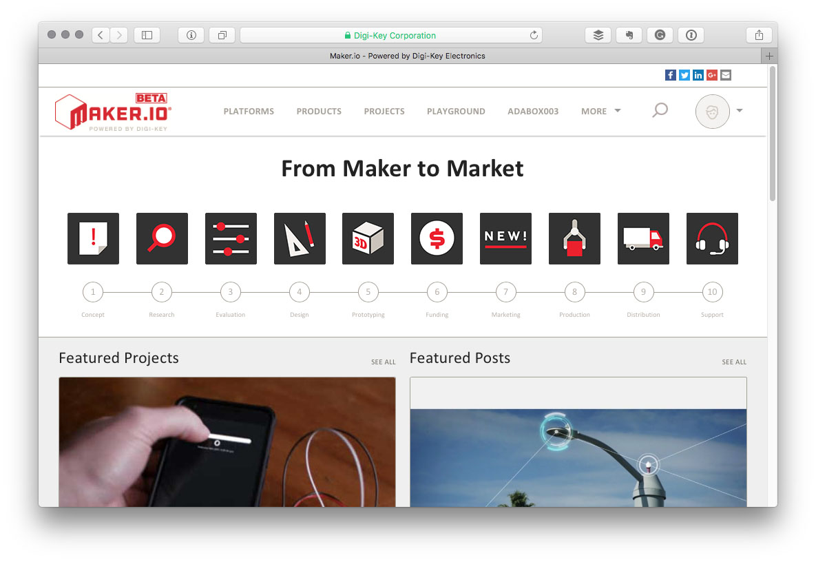 share projects on digikeys makerio