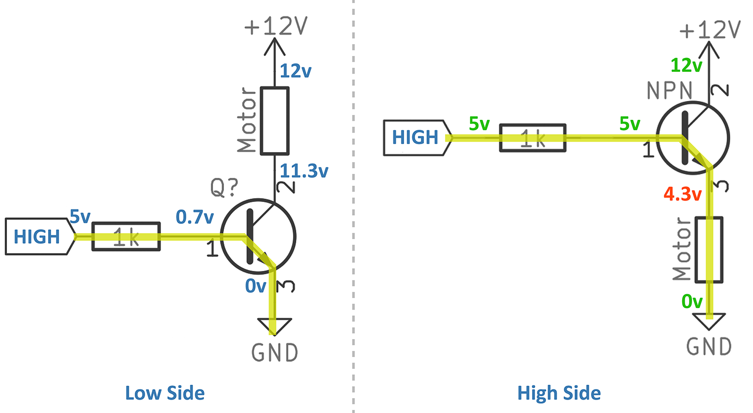 NPN Low Side vs High Side Switch