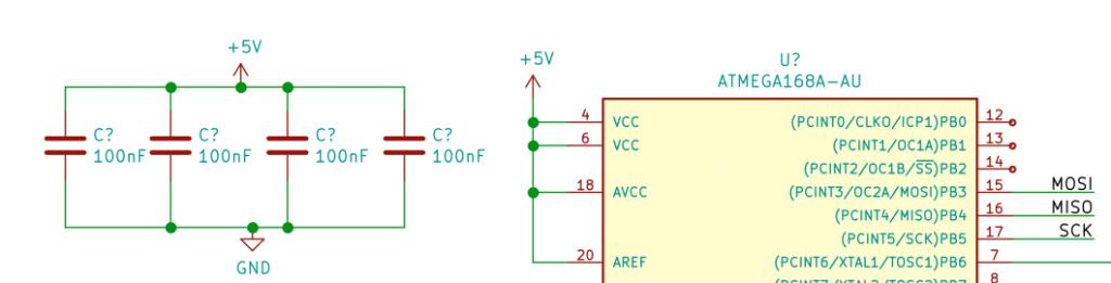 ATmega328p Decoupling Capacitors