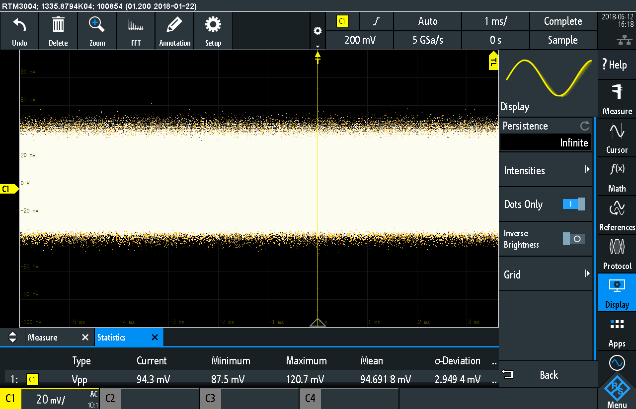 RTM3004 Infinite Persistance 3.3 Volt Rail