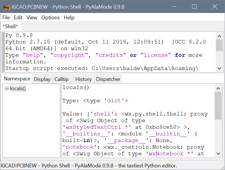 Python Shell in PCBNew